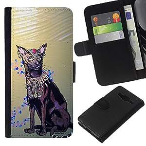 eJoy---La carpeta del tirón la caja de cuero de alta calidad de la PU Caso protector - Samsung Galaxy Core Prime - --Havana Brown Egyptian Art Cat Royal