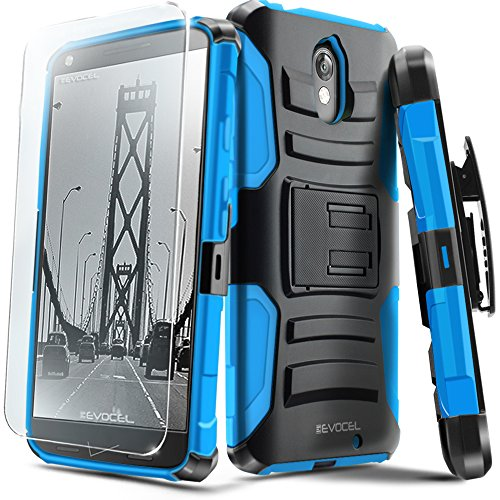 Droid Turbo 2 Case, Evocel [Generation Series] Belt Clip Holster, Kickstand, HD Screen Protector, Dual Layer for Motorola Droid Turbo 2 (XT1585/ 2015 Release), Blue (EVO-MOTXT1585-AB202)