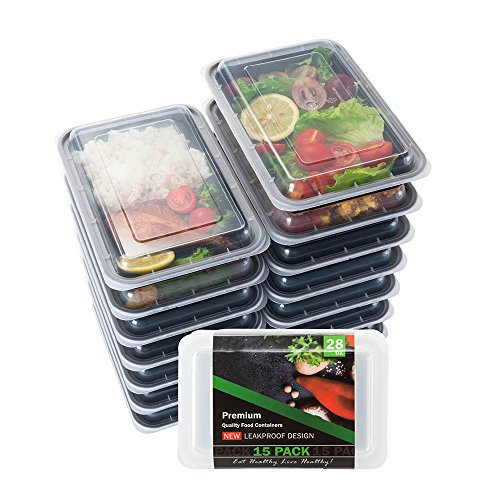Food Storage Containers 15-PACK Meal Prep Containers Lunch Containers BPA Free Meal Prep Containers Bento Box Set Portion Control Containers for Weight Loss Plastic Food Container 1 Compartments 28 Oz