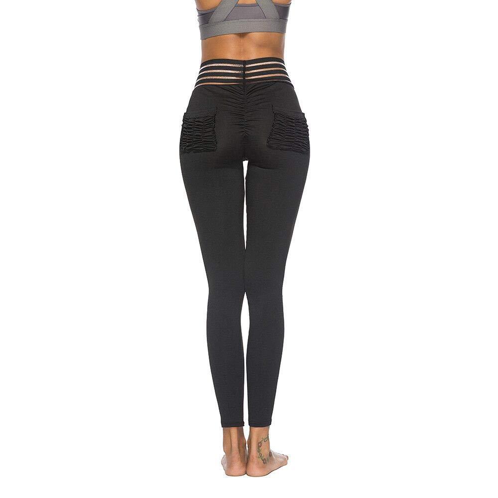 Sinzelimin Women Leggings Fitness Sports Gym Running Yoga Athletic Pants Fitness Stretch Yoga Pants Black