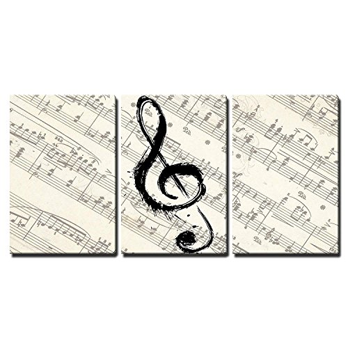 (wall26 - Music Note on Score Paper - Canvas Art Wall Decor - 16