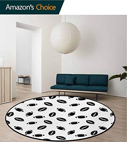 (RUGSMAT American Football Warm Soft Cotton Luxury Plush Baby Rugs,Monochrome Pattern with Black Rugby Balls American Culture Sports Play Kids Teepee Tent Game Play House Round,Round-35 Inch)