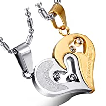 """Cupimatch 2-Pieces Stainless Steel Lover's """"I Love You"""" Heart Rhinestone Puzzle Matching Pendant Couple Necklace with 20"""" & 22"""" Chain"""