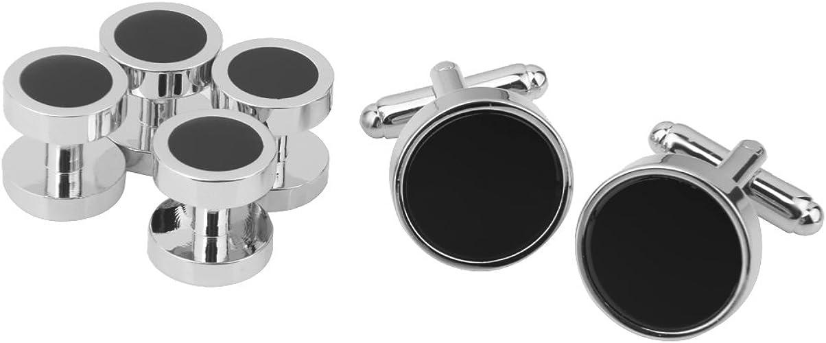 TiaoBug Mens Stainless Steel Round Tuxedo Shirt Cufflinks and Button Studs Set