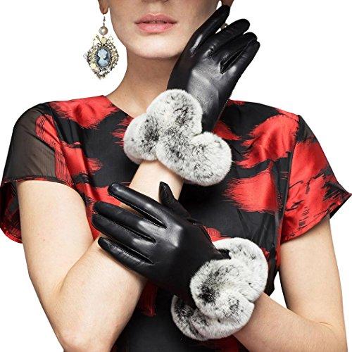 発掘するジャニス民主主義革手袋 レディース 本革 羊革 シープスキン ラムスキン レザー リアルラビットファー ファー付き グローブ 冬 暖かい ふかふか 手ぶくろ 黒
