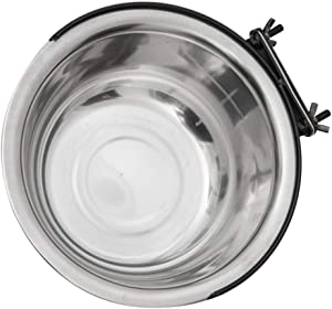 STOBOK Stainless- Steel Hanging Pet Bowls Cage Kennel Crate Large Feeder Dishes Feeding Bowl Coop Cup for Dogs Cats Bird Parrot Food Water 150ml Silver