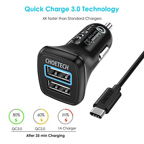 Car Charger, CHOETECH 30W Dual USB Car Charger For Apple
