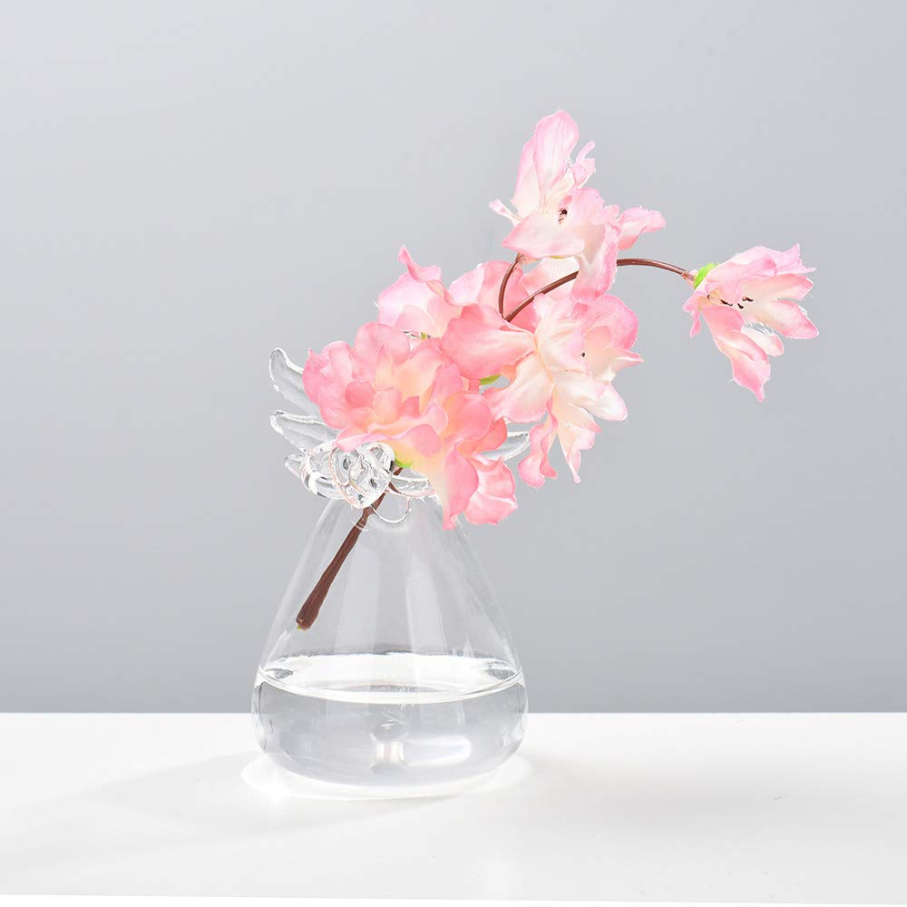 MaxFox Creative Flower Arrangement Vase, Home Hydroponic Container Angel Model Glass Container Vase for Decoration Rooms (Clear)