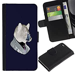 Planetar® Colorful Pattern Flip Wallet Leather Holster Protective Skin Case Cover For Apple iPhone 4 / iPhone 4S ( Funny Hipster Bear )