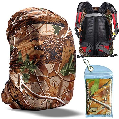 Gryps Waterproof Backpack Rain Cover with Adjustable Anti Slip Buckle Strap & Sliver Coating Reinforced Inner Layer for Camping, Hiking, Traveling, Hunting, Biking and More, 60-70L(Jungle Camouflage)
