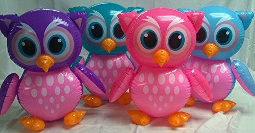 3 Inflate Owls - Colorful Owl Inflatable Decorations and Party Favors - Set of (Owl Birthday Party Supplies)