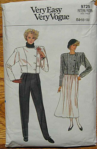 Gathered Waistband - Easy Vogue 9725 Sewing Pattern for Short Seamed Top-stitched Tailored Side Button Jacket, Pleated Front Trousers, and Gathered to Waistband Skirt