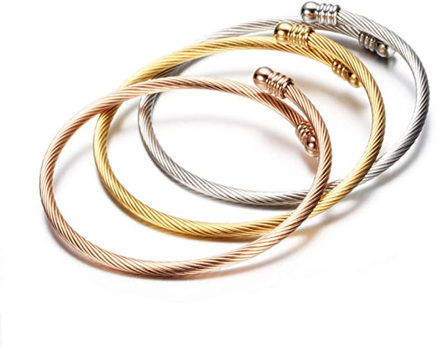 Add Your Own Charms Stainless Steel and Gold Plate Charm Bangle Bracelets USA