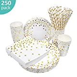esafio 250 PCS Disposable Paper Plates set, Tableware Sets Include 50 Dinner Plates, 50 Dessert Plates, 50 Paper Cups, 50 Luncheon Napkins, 50 straws for Birthday Party, Wedding, Baby Shower