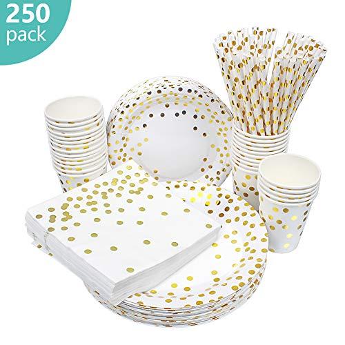 esafio 250 PCS Disposable Paper Plates Set Gold Dot Party Supplier,50 Dinner Plates 50 Dessert Plates 50 9oz Cups 50…