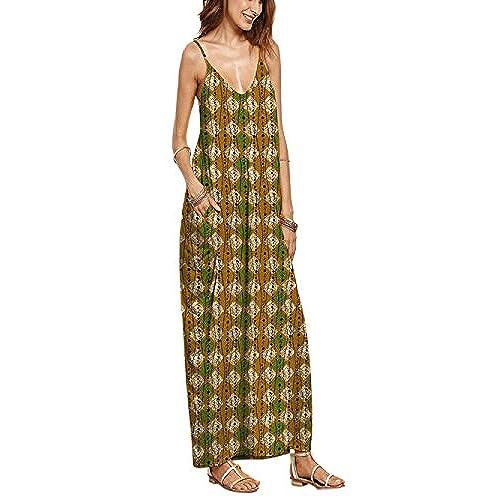 Playa vestido, las mujeres cuello de pico verano Casual Loose tiras en forma de larga Boho Maxidress, Floral impresión de Grandes sin mangas vestido de ...