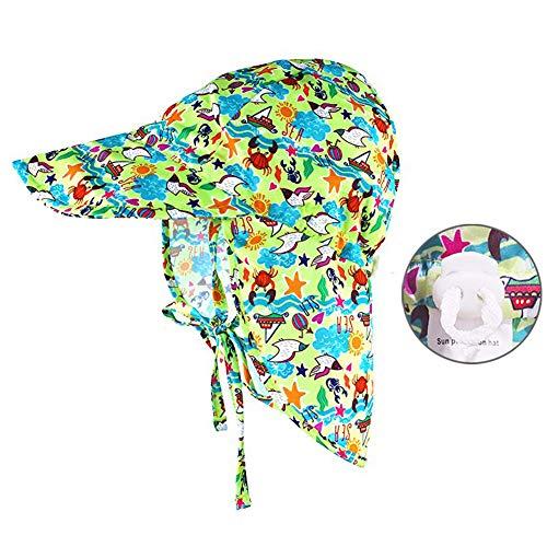 9e9b3a2bb Baby Sun Protection Hat Adjustable UPF50+ Toddler Swim Hat Fory Boys Girls  Flap Hat UV Kids Wide Brim Neck Cap