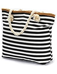 Oversize Beach Bag Duffel Bag Waterproof Canvas Tote Straw Bag with a Pouch