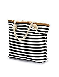 We We Beach Bag Waterproof Canvas Tote Straw Bag - Large (Style 02)