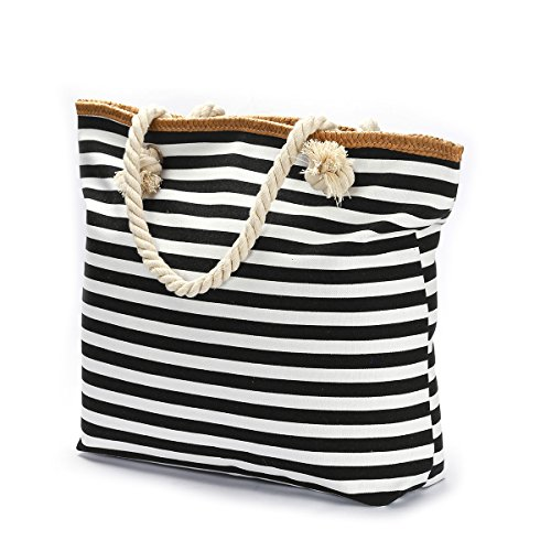 Stripe Beach Tote - We We Beach Bag Waterproof Canvas Tote Straw Bag - Large (Style 02)