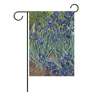 ALAZA Vincent Van Gogh Iris flores poliéster bandera de Jardín Casa Banner 12x 18inch, dos Sided bandera de bienvenida Patio Decoración para Boda Fiesta Decoración para el hogar