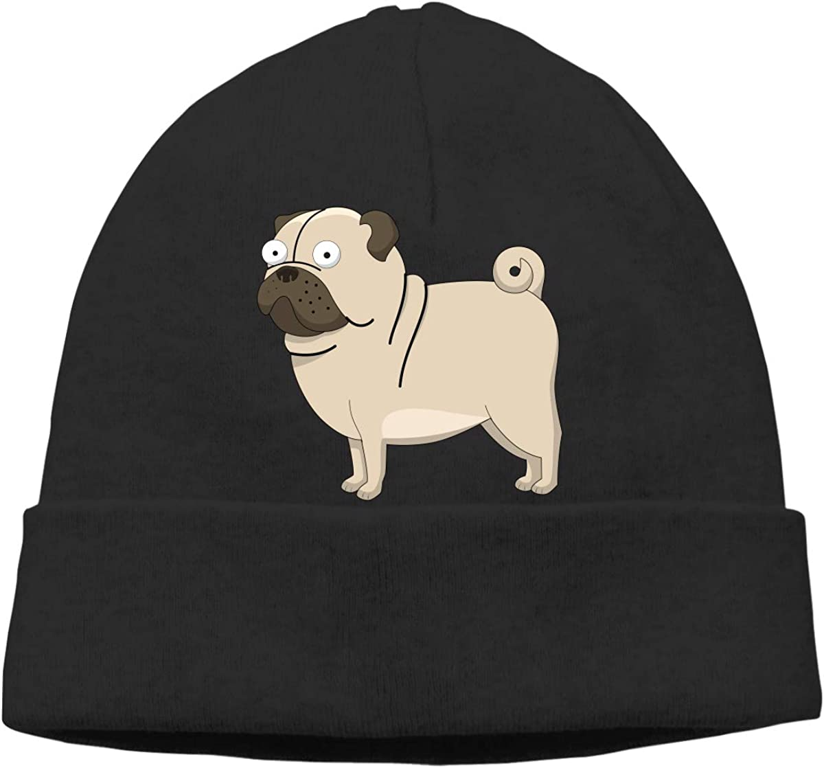 Puppy Cute Pug Unisex Cuffed Plain Skull Knitted Hat Beanie Cap Men Women Black