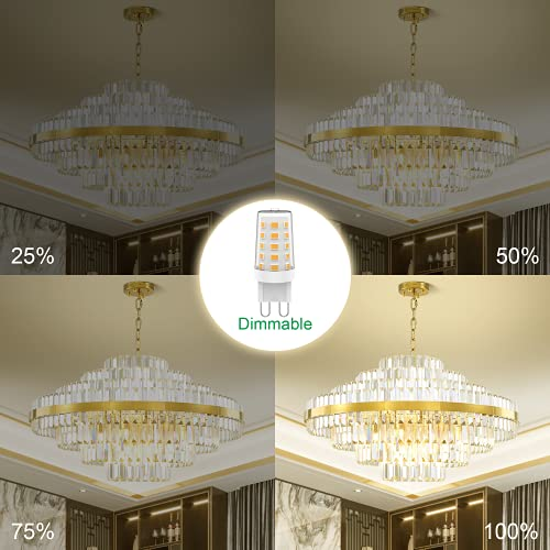 Aourow G9 LED Light Bulbs Dimmable,Energy Saving LED G9 Capsule Lamp Warm White 3000K 4W 400LM,Equivalent to 28W 33W 40W Halogen Bulb,AC 220-240V 360 Degree Beam Angle,No Flicker,Pack of 5