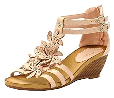 c33199d3a20b Womens Ladies Diamante Flower Detail Low Wedge Heel Holiday Beach Summer  Gladiator Dressy Fashion Sandals Shoes
