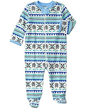 Baby Blue Fairisle Footed Onepiece