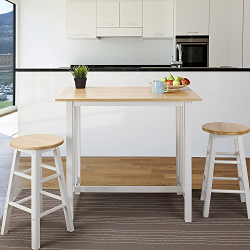 Casual Home 3-Piece Breakfast Set with Solid American Hardwood Top, White by Casual Home (Image #5)