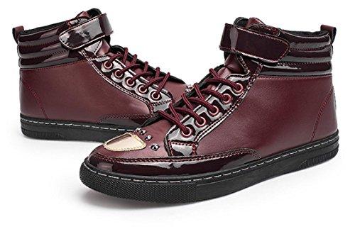 NSXZ La nuova tendenza di stivali moda casual da uomo Martin stivali alti stivali per aiutare gli uomini , 41 RED-41