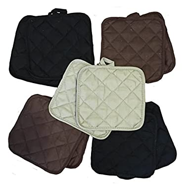 5 (FIVE) Sets of The Home Store Cotton Pot Holders, 2-ct. Color Variety Pack Kitchen Cooking Chef Linens (Naturals)