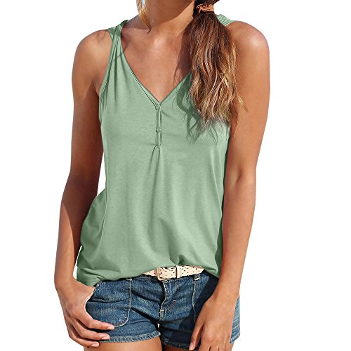 (HGWXX7 Womens Summer Casual Solid V-Neck Sleeveless Button Vest Blouse Tank Tops (XL, Army Green))