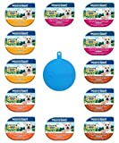 Natural Balance Delectable Delights Grain-Free Wet Dog Food Variety Bundle in 4 Flavors - 12 Tubs Total (2.75 Ounces Each) Plus Pet Buddies Cat/Dog Food Silicone Can Cover - 13 Items Total
