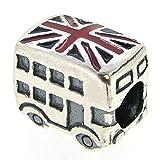 Sterling Silver London Bus Britain Flag Enamel European Style Bead Charm