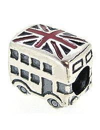 Sterling Silver London Bus Uk Britain Flag Enamel Bead For European Chamilia Biagi Troll Pandora Charm Bracelets