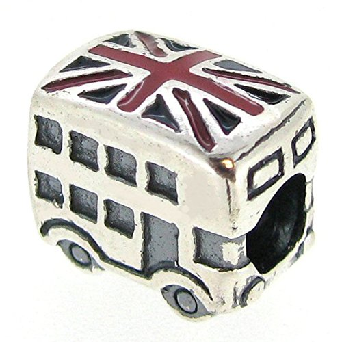 Queenberry Sterling Silver London Bus Britain Flag Enamel European Style Bead Charm