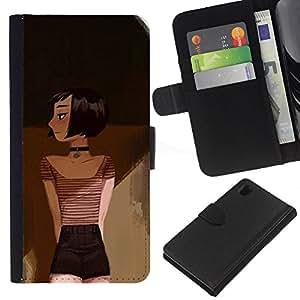 KLONGSHOP // Tirón de la caja Cartera de cuero con ranuras para tarjetas - Dibujo Pintura Arte Profundo Emo Hipster - Sony Xperia Z1 L39 //