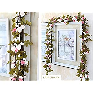 Lannu 2 Pack Artificial Rose Vine Flowers Fake Garland Ivy Flowers Silk Hanging Garland Plants for Home Wedding Party Decorations, (Cream &Pink) 2