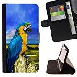 For Sony Xperia m55w Z3 Compact Mini Parrot Colorful Blue Feathers Summer Beautiful Print Wallet Leather Case Cover With Credit Card Slots And Stand Function