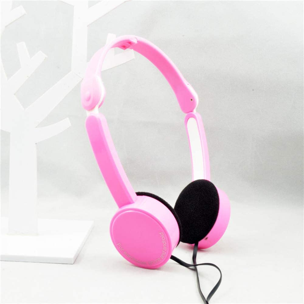 BSTLY Auriculares, Auriculares Sobre la Oreja,Auriculares plegables controlados por cable auriculares electrónicos rosa