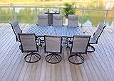 9pc Cast Aluminum Swivel Sling Rocker Patio Dining Furniture Set - Black