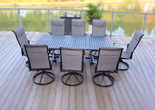 Cheap 9pc Cast Aluminum Swivel Sling Rocker Patio Dining Furniture Set – Black