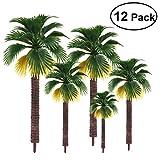 TOYMYTOY Palm Model Tree 12pcs 4 Size Diorama Plastic Coconut Scenery Trees Model