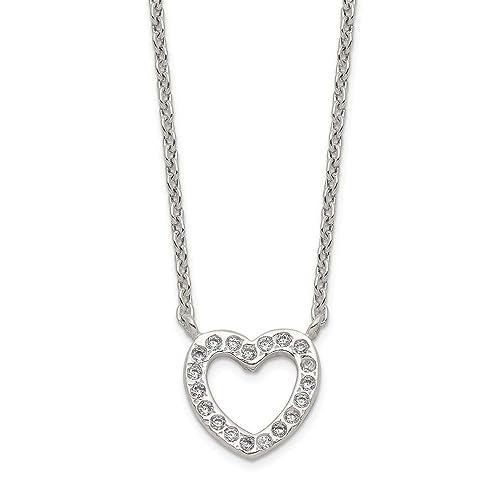 Sterling Silver CZ Heart Pendant Pendants /& Charms Jewelry
