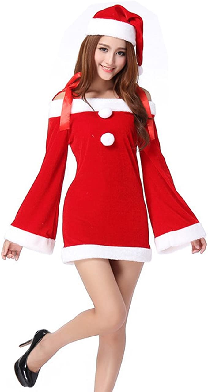 TEMPT Womens Sexy Christmas Costumes Off Shoulder Cosplay Lingerie Dress  Holiday Santa Claus Outfits Red