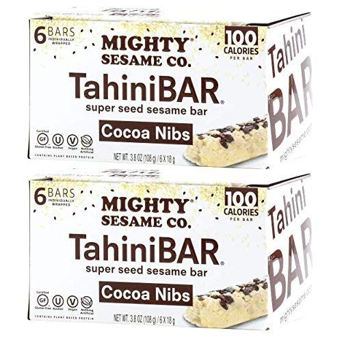 Mighty Sesame TahiniBars With Cocoa Nibs (2 Pack, Total 12 Bars )