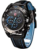 Shark Men's Shortfin Date Day Display Dual Time Zone Sport Leather Band Wrist Watch SH153