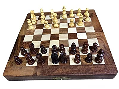 Chess Set – Portable Sisam Wooden Handmade International Chess Set 10 X 10 Inch W-40019, Gift for Christmas or Birthday to Your Loved
