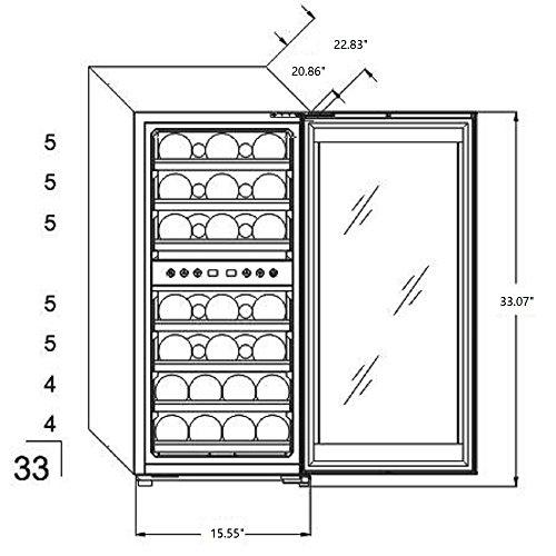 Phiestina 33 Bottle Wine Cooler Double Zone Steel Door with Handle by phiestina (Image #3)